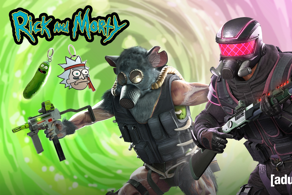 Bizarre character skins for Rainbow Six Siege, making reference to Rick and Morty gags like Pickle Rick and the Gromflomites