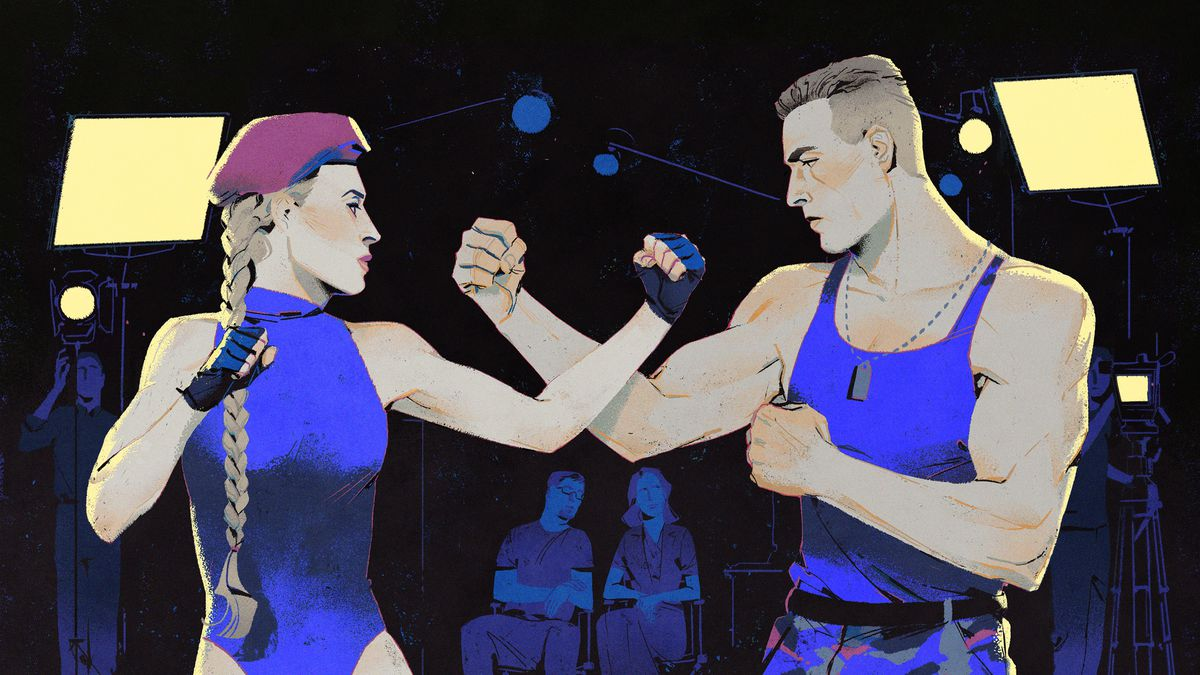 An illustration shows Kylie Minogue fighting Jean-Claude Van Damme while the Incredible Technologies staff records footage
