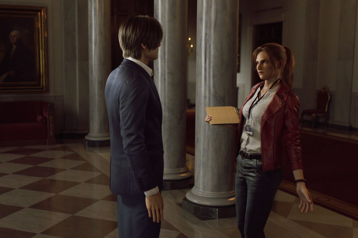 Claire Redfield talks to Leon Kenney in the White House in Resident Evil: Infinite Darkness