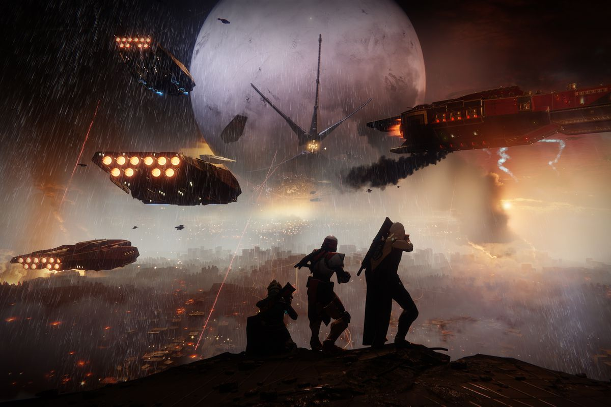 Destiny 2 campaign - three Guardians watching Cabal invasion