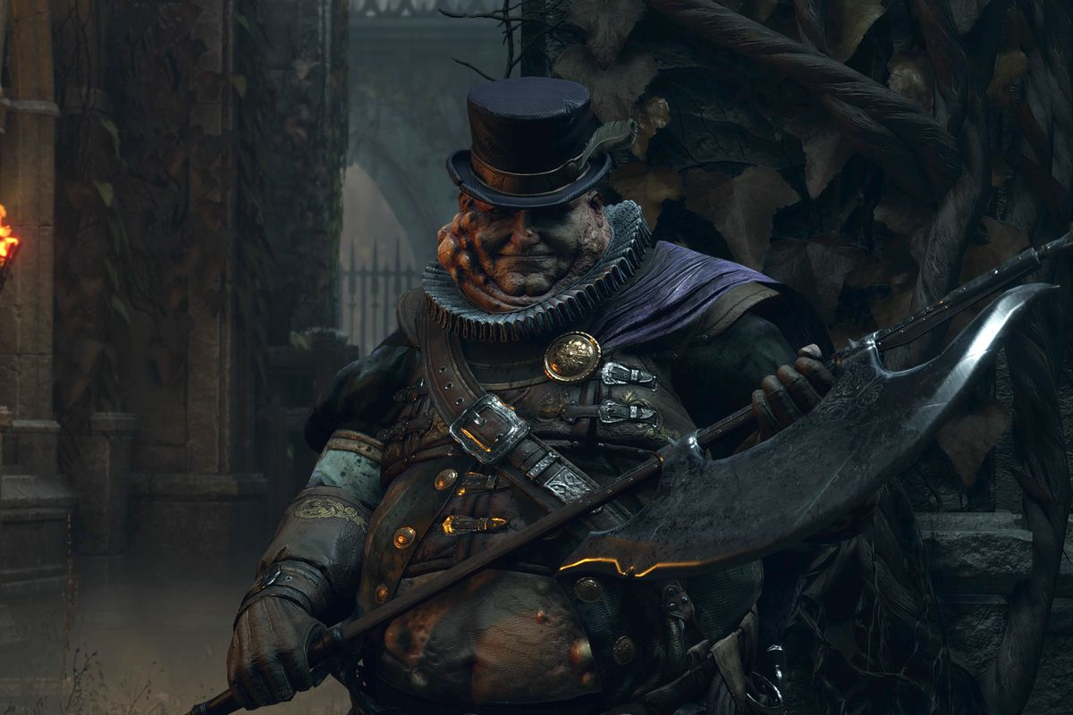 A Fat Official holds its ax in a screenshot from Demon's Souls (2020)