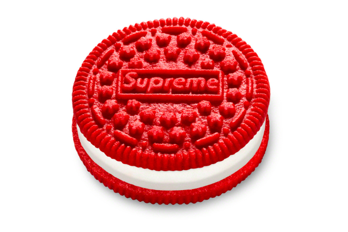 A red Oreo with the Supreme logo on it