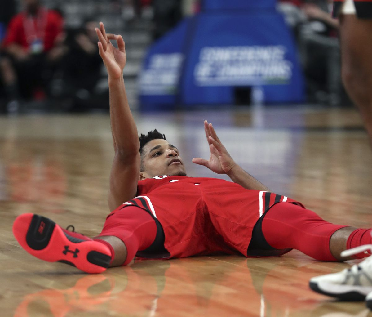 After being fouled, Utah Utes guard Alfonso Plummer (25) signals a 3-pointer from his back as the Utes play the Oregon State Beavers during the first round of the Pac-12 men's basketball tournament at T-Mobile Arena in Las Vegas on Wednesday, March 11, 2020.
