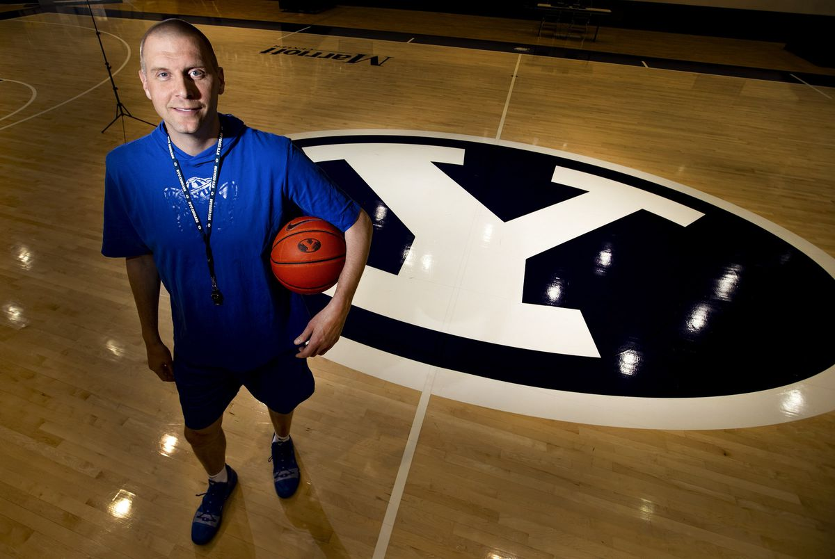 BYU men's basketball coach Mark Pope poses in the Marriott Center in Provo on Thursday, May 23, 2019.