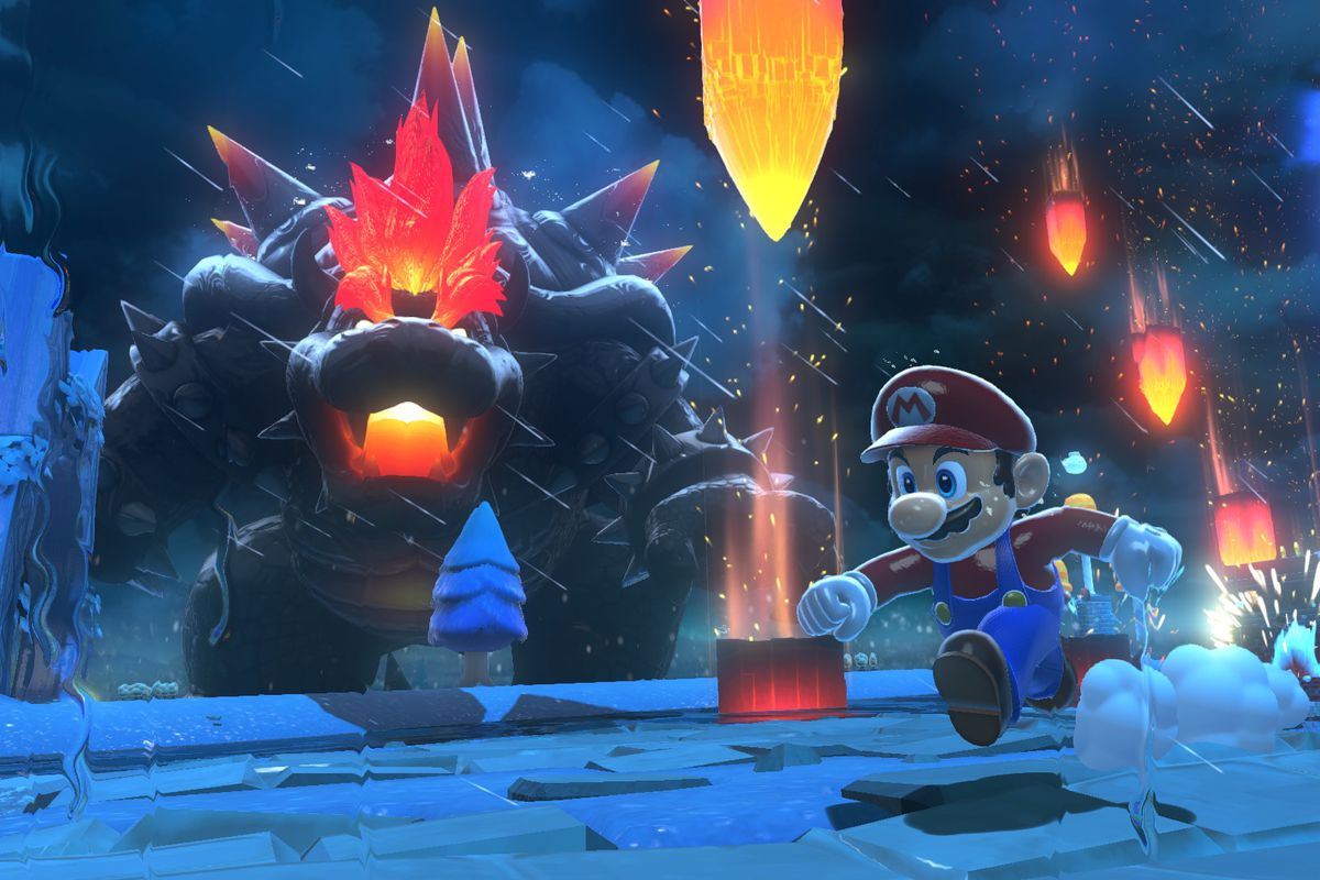 Mario runs from Fury Bowser in Bowser's Fury