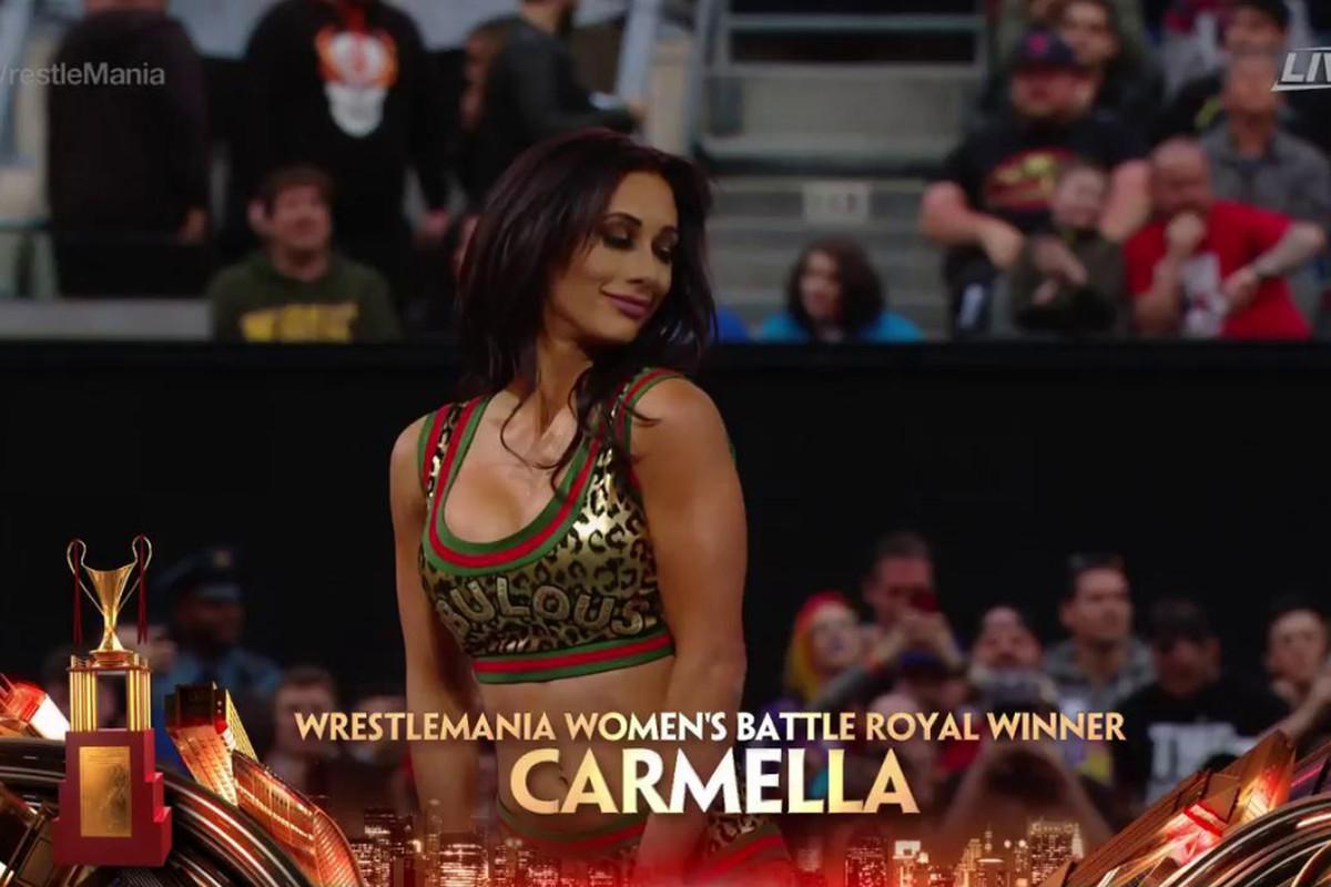 Wrestlemania35ResultsCarmellaWinsWomensBattle
