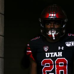 Utah Utes defensive back Javelin Guidry (28) enters the field for warmups before the start of an NCAA football game between the Utah Utes and Arizona State Sun Devils at Rice-Eccles Stadium in Salt Lake City on Saturday, Oct. 19, 2019.