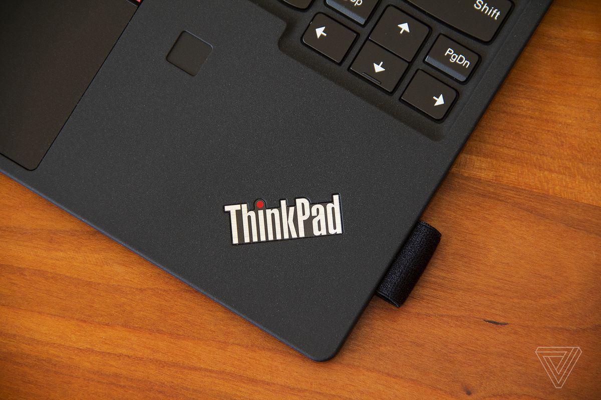 The ThinkPad logo on the bottom right corner of the ThinkPad X12 Detachable keyboard deck.