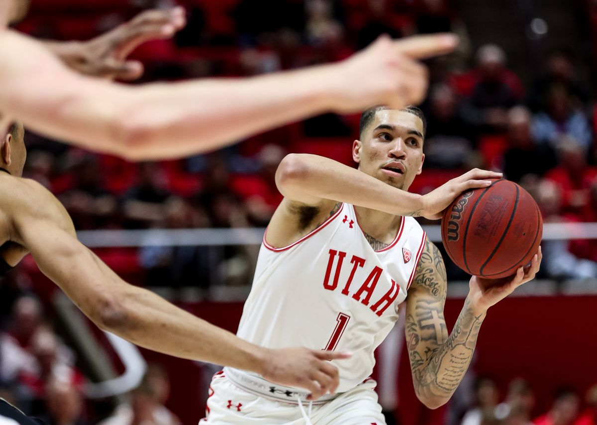 Utah Utes forward Timmy Allen (1) looks for an open teammate during the game against the Colorado Buffaloes at the Huntsman Center in Salt Lake City on Saturday, March 7, 2020.