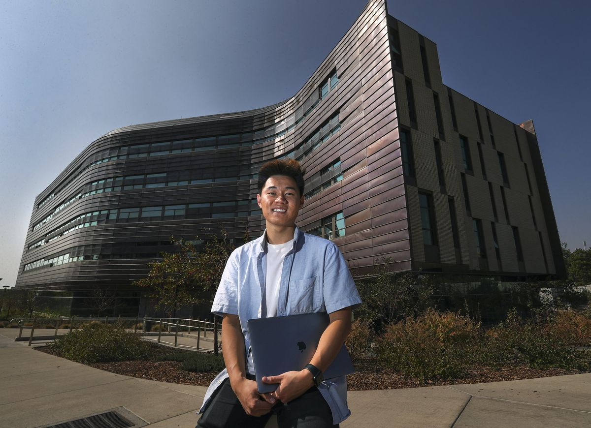 University of Utah freshman and game developer Andrew Wang poses for a photo outside the Lassonde Entrepreneur Institute Studio building where he lives on the University of Utah campus in Salt Lake City on Tuesday, Oct. 6, 2020.