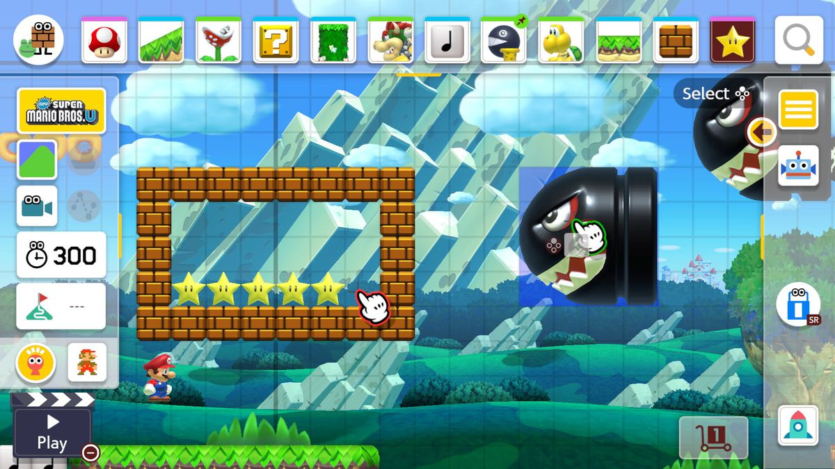 creating a level in Super Mario Maker 2 with a Banzai Bill aimed at a rectangle of bricks with invincibility stars inside it