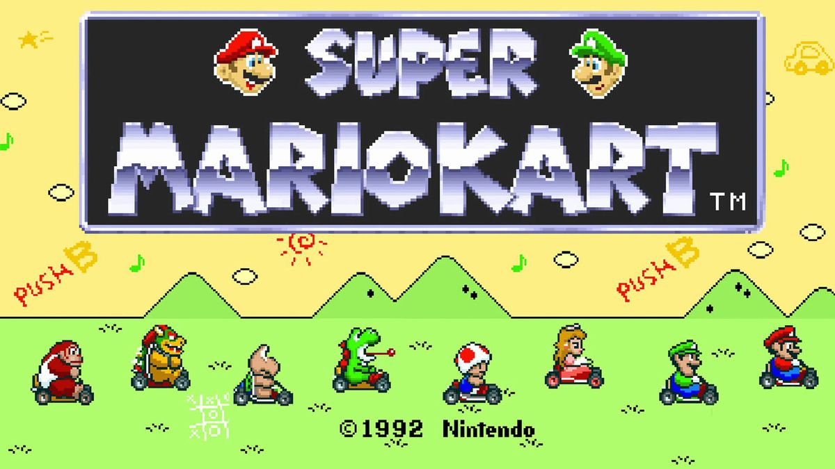 Super Mario Kart's title screen, showing a variety of characters and the game's logo