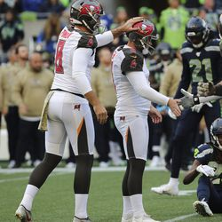 Former Utah Ute and Tampa Bay Buccaneers kicker Matt Gay (9) makes a field goal against the Seattle Seahawks during the NFL football game in Seattle on Sunday, Nov. 3, 2019.