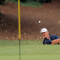 Jay Don Blake hits from a bunker up to the fifth green during the final round of the SAS PGA Champions Tour golf tournament at Prestonwood Country Club in Cary, N.C., Sunday, Oct. 7, 2012. Blake finished in second place.