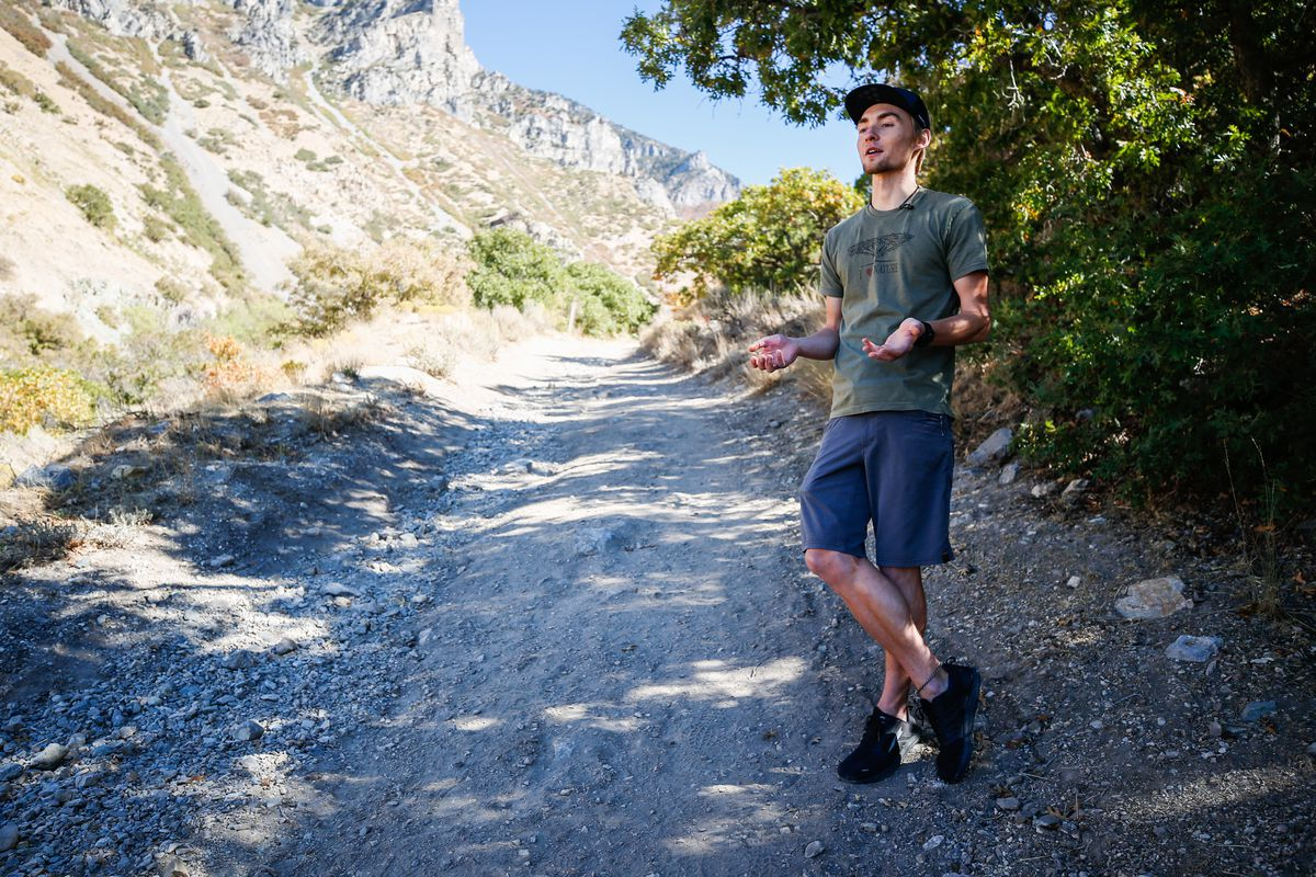 Kyle Burgess explains on Monday, Oct. 12, 2020, how he managed to escape a mountain lion during during a run in Slate Canyon near Provo.