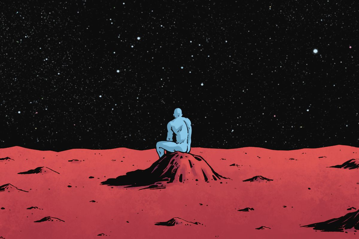Doctor Manhattan sits alone on a rock on Mars in Rorschach #7, DC Comics (2021).