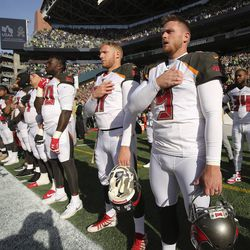 Former Utah Ute and Tampa Bay Buccaneers kicker Matt Gay (9) stands during the national anthem before the Tampa Bay-Seattle NFL football game in Seattle on Sunday, Nov. 3, 2019.