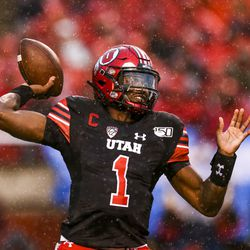 Utah Utes quarterback Tyler Huntley (1) throws the ball during the first half of an NCAA football game at Rice-Eccles Stadium in Salt Lake City on Saturday, Oct. 19, 2019.