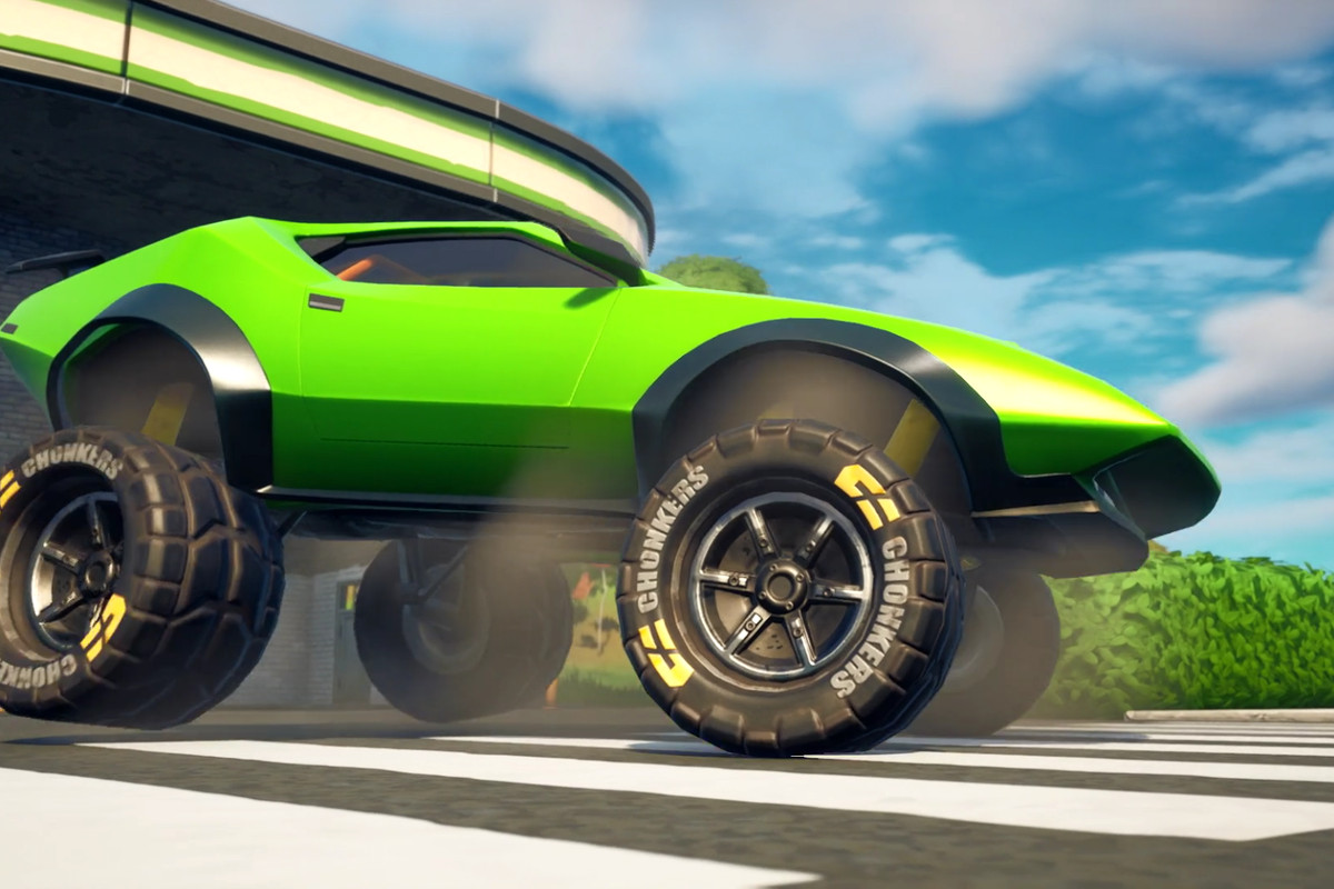 A sports car in Fortnite tricked out with giant off-road tires
