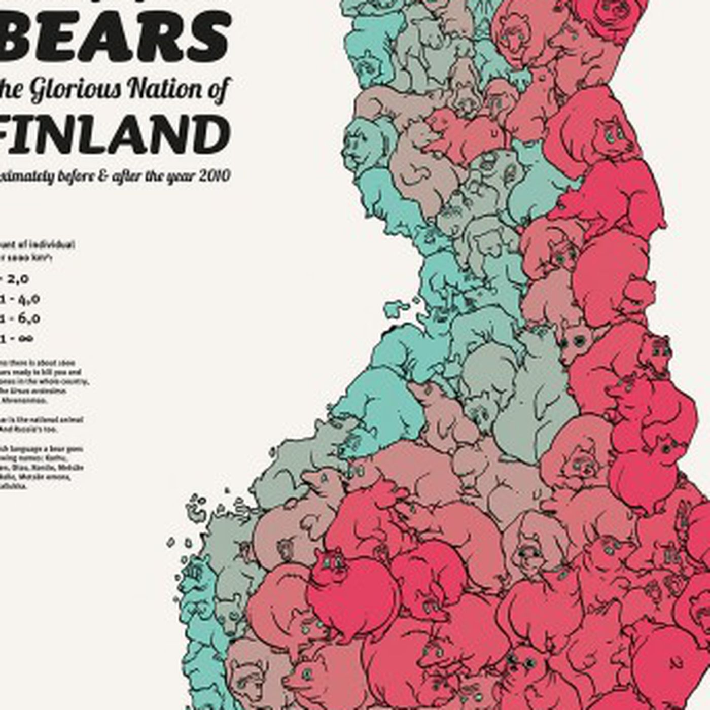 kartta he A map of Finland's bear population, made up of bears   Vox kartta he