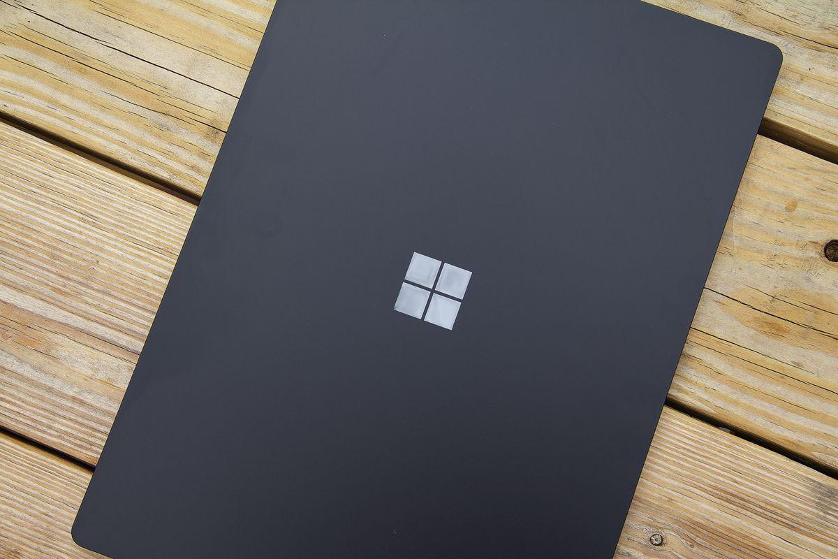 The Surface Laptop 4 15-inch lid from above.
