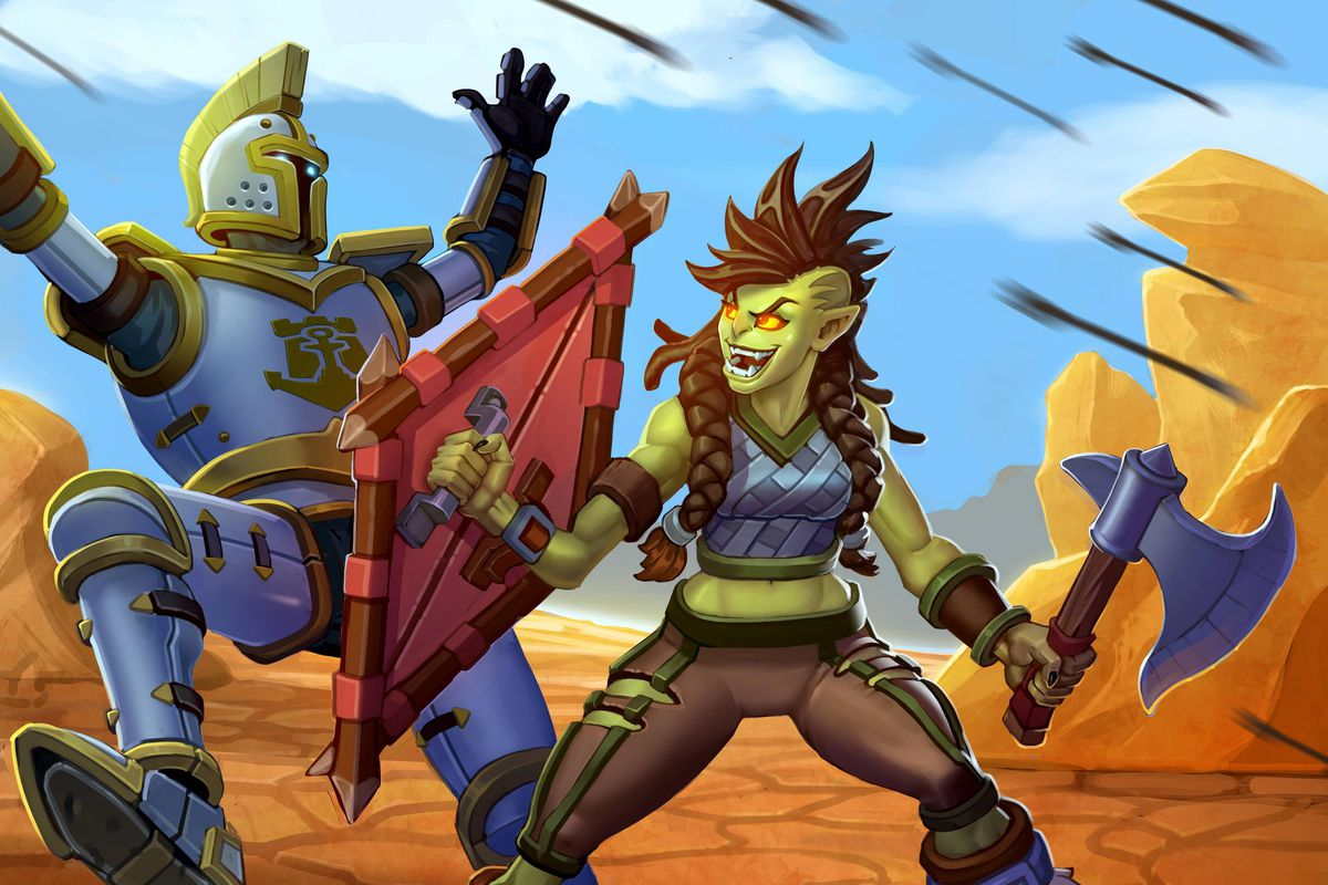 Hearthstone - the Frostwolf orc Rokara uses her kite shield to bash aside an armored footman in the Barrens.