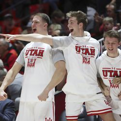 The Utah Utes bench erupts after a dunk against the Oregon State Beavers in Salt Lake City on Thursday, Jan. 2, 2020. Utah won 81-69.