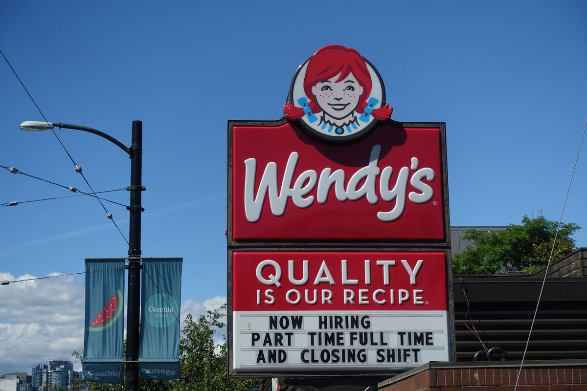 A Wendy's restaurant sign in Vancouver