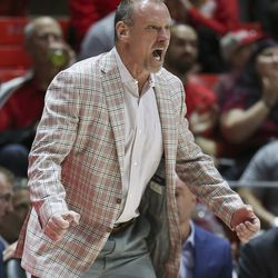 Utah Utes head coach Larry Krystkowiak yells during a game against the Oregon State Beavers in Salt Lake City on Thursday, Jan. 2, 2020.