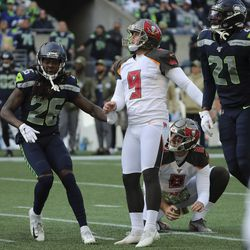 Former Utah Ute and Tampa Bay Buccaneers kicker Matt Gay (9) kicks a field goal against the Seattle Seahawks during an NFL football game in Seattle on Sunday, Nov. 3, 2019.