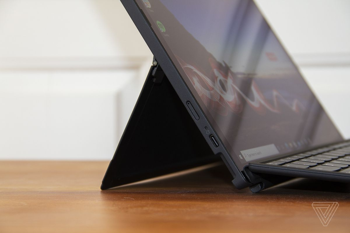 ThinkPad X12 Detachable kickstand from the left up close.