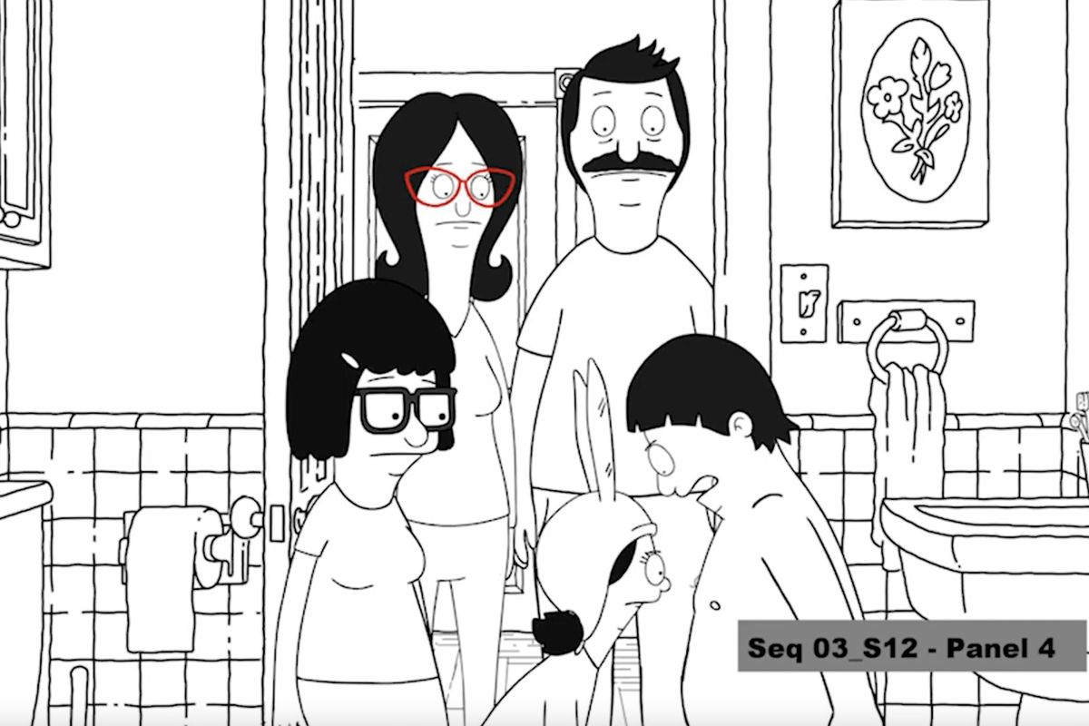 Bob's Burgers test animation of the family looking at Gene's chest