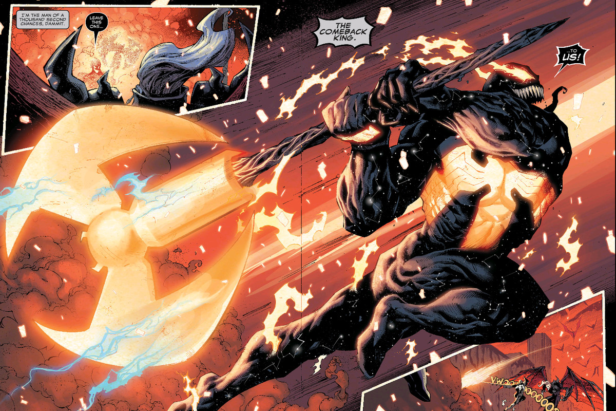 Venom leaps across a double page spread, wielding a giant two-handed axe made from Mjolnir and the Silver Surfer's board in King in Black #5, Marvel Comics (2021).