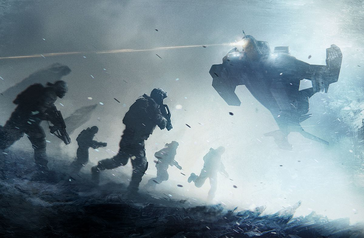 A fireteam runs toward a gunship, which is providing suppressing fire. Chips of rock leap into the air in the foreground, while the background is obscured by smoke.