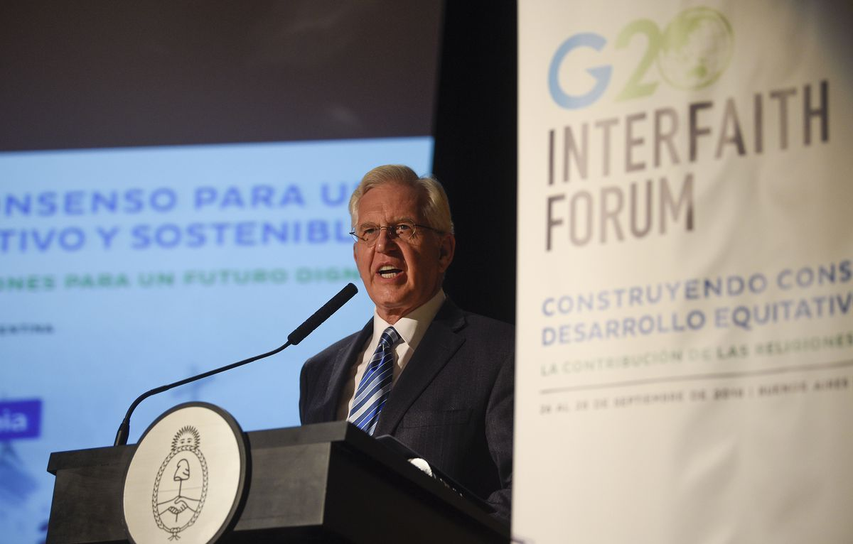 20180926 Elder D. Todd Christofferson, a member of the Quorum of the Twelve Apostles of The Church of Jesus Christ of Latter-day Saints, speaks at the G20 Interfaith Forum in Buenos Aires, Argentina, on Sunday, Sept. 26, 2018.