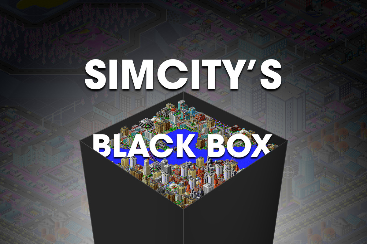 Text reading Simcity's blackbox sits above an abstract black box containing a SimCity 2000 city.