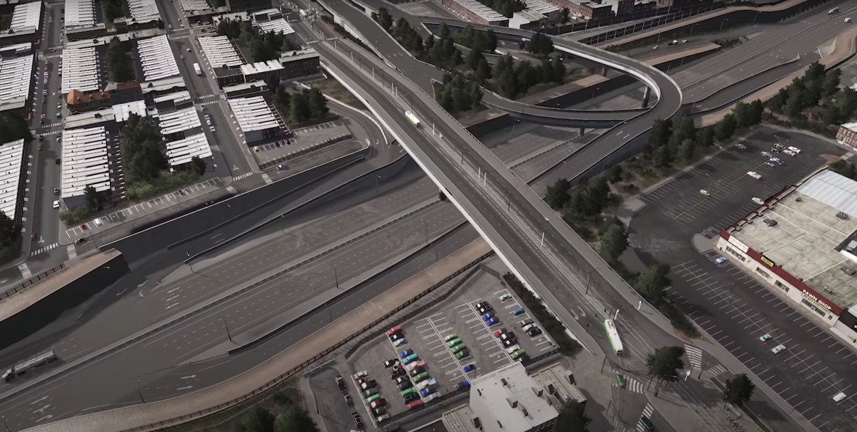 A highway divides two neighborhoods in a modded version of Cities: Skylines.