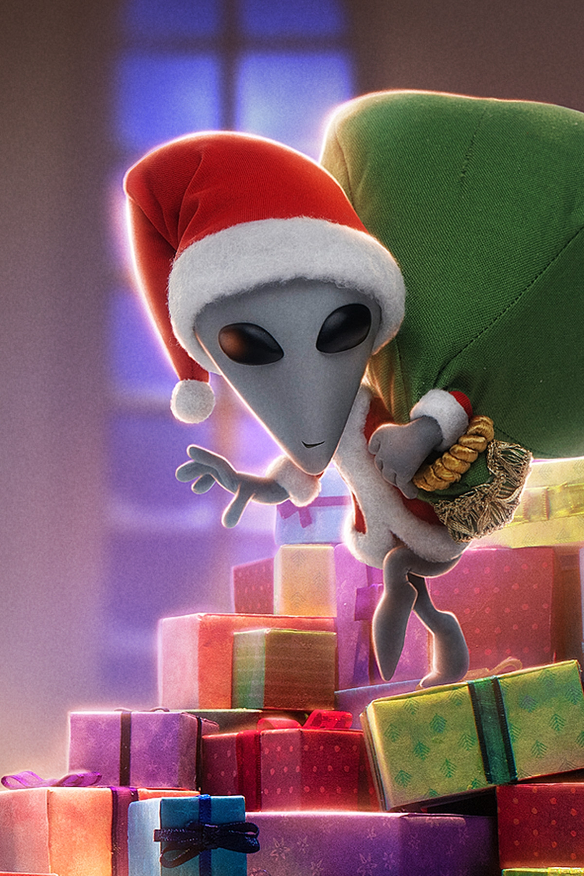 The little grey alien X, dressed as Santa Claus, sneaks down a colorful pile of presents in Alien Xmas