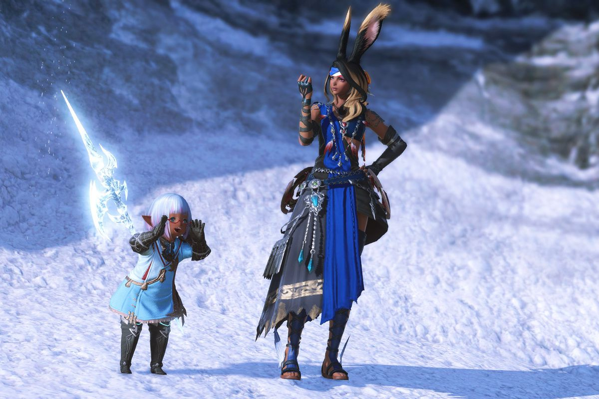 A tall rabbit eared woman stands and checks her nails next to a small elf-like girl shouting excitedly in FFXIV
