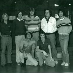 Utah State golfer Jay Don Blake, bottom right, poses with his Aggie teammates. Forty years ago Blake won medalist honors at the NCAA Championship.