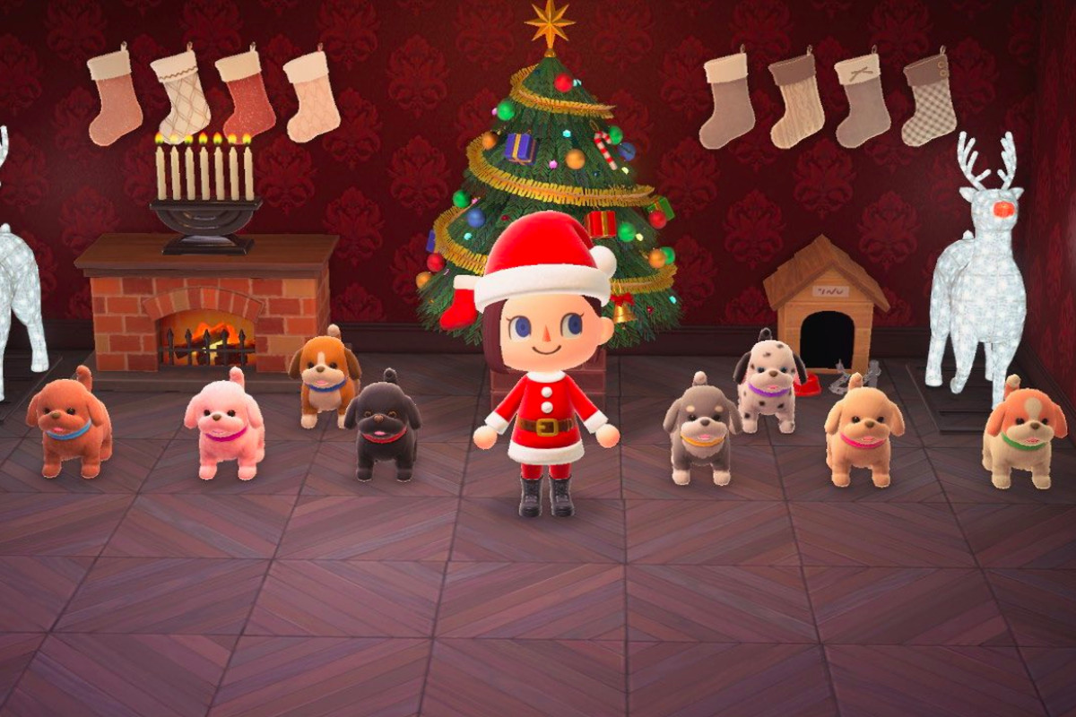 A collection of puppy toys in Animal Crossing: New Horizons.