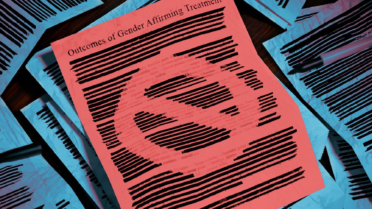 """A pile of papers with their text blacked out with a marker. The top of the pile is a red paper titled """"outcomes of gender affirming treatment"""" with lines blacked out in a way that leaves negative space to form the line through circle """"no"""" symbol."""
