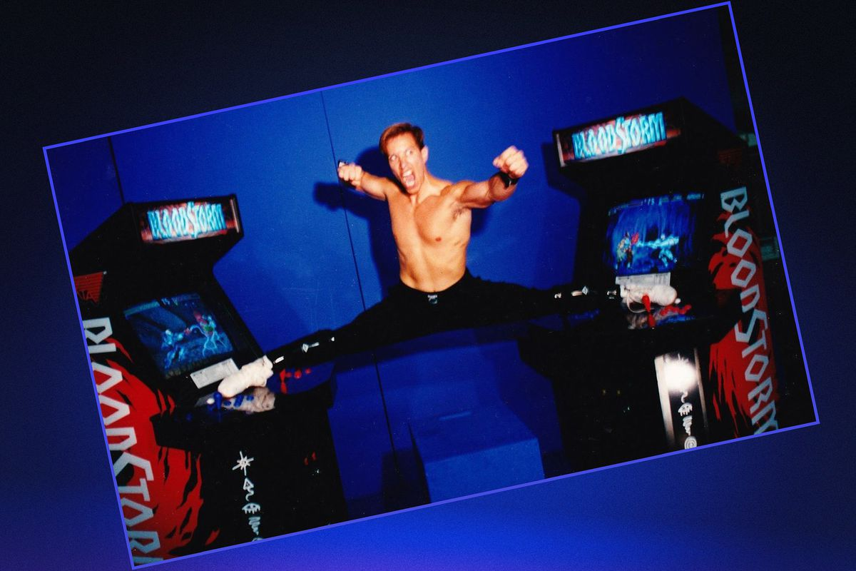 Graphic image with a photo of Jan Claude Van Damm doing a full splits and fight pose