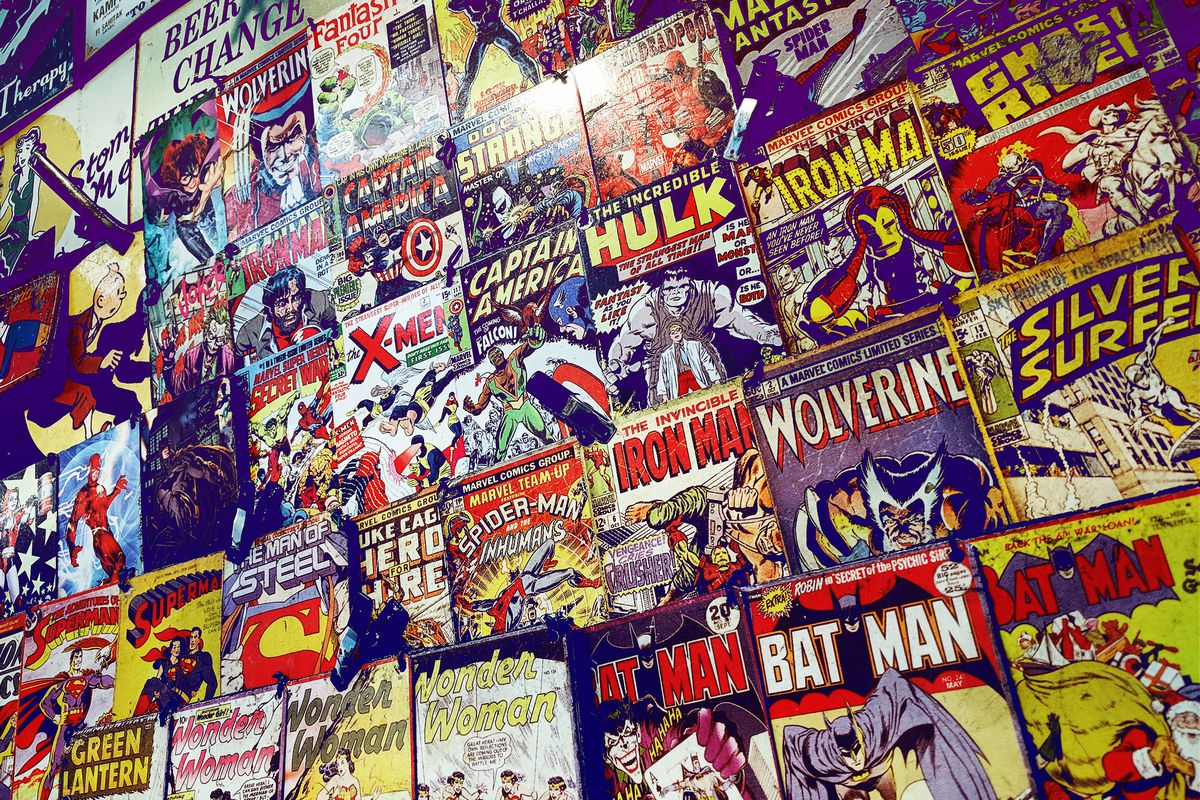 A wall of comics in a London store