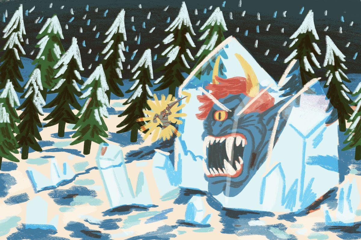 An original illustration shows Arthur fighting a monster