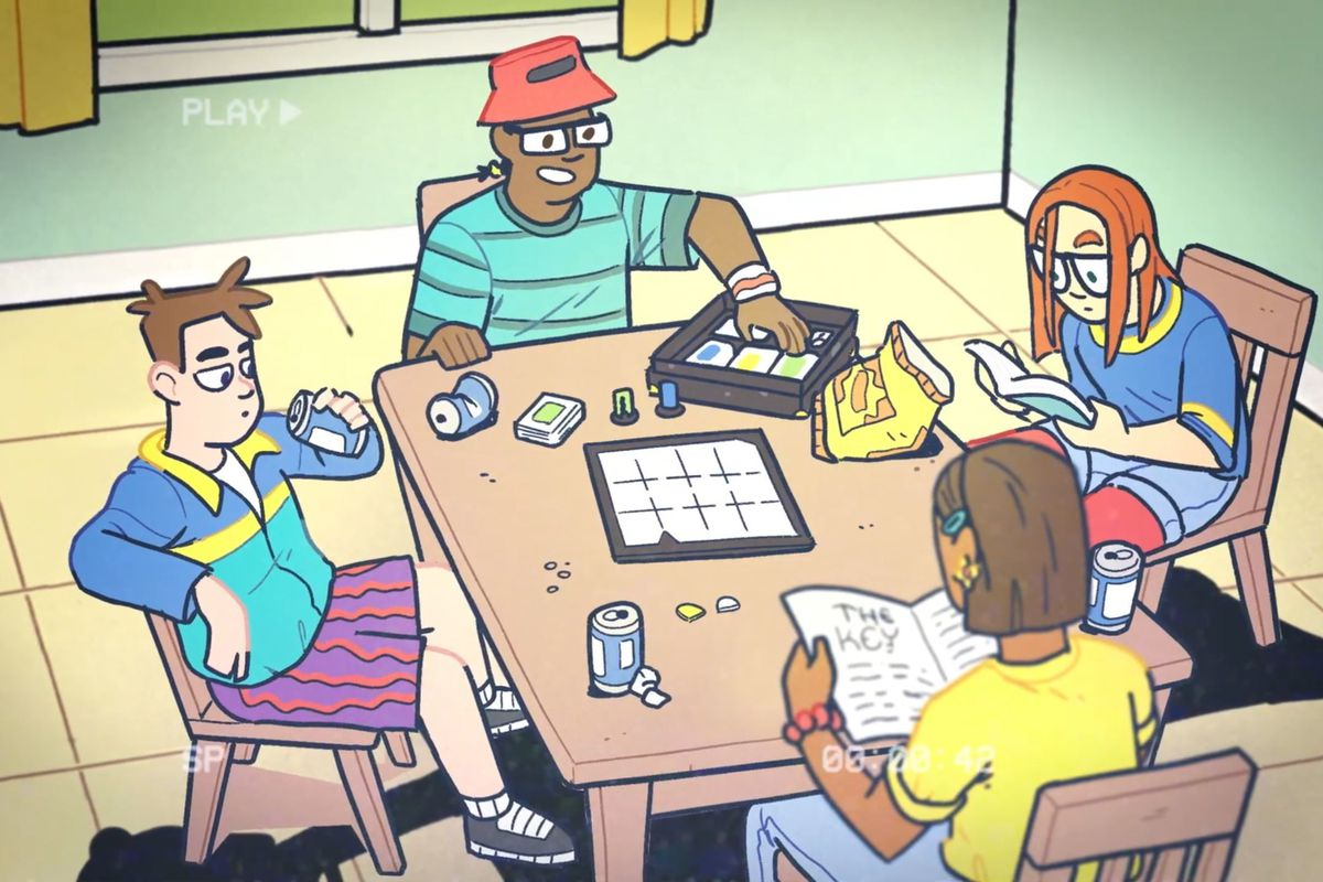 An illustration of typical 90s kids sitting around a table playing a board game.
