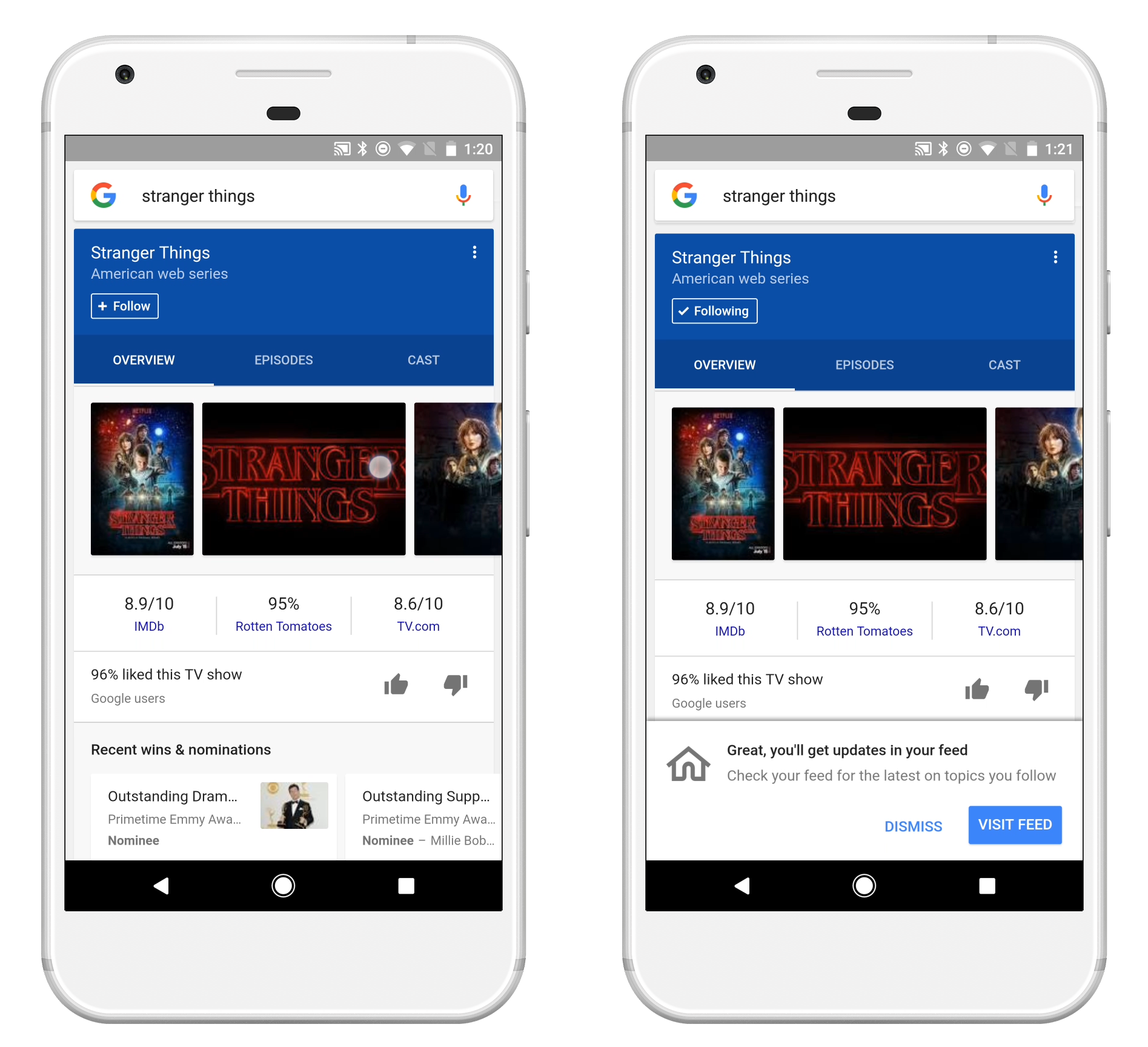Techmeme: Google's search app on Android and iOS gets an algorithmic
