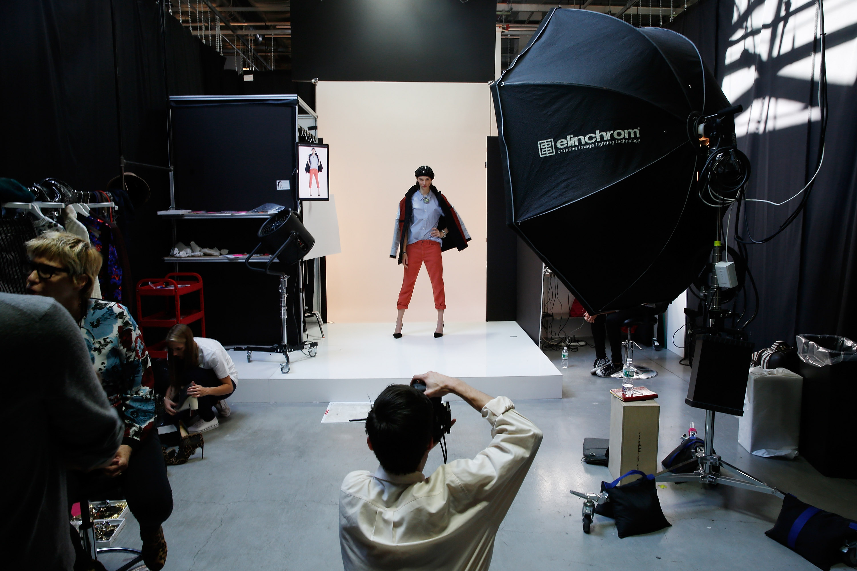 Model being shot in Amazon's Brooklyn photo studio