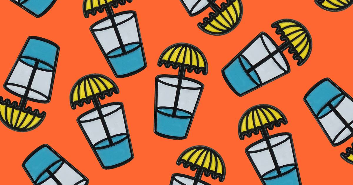 An illustration of yellow umbrellas in blue drink cups on an orange background.