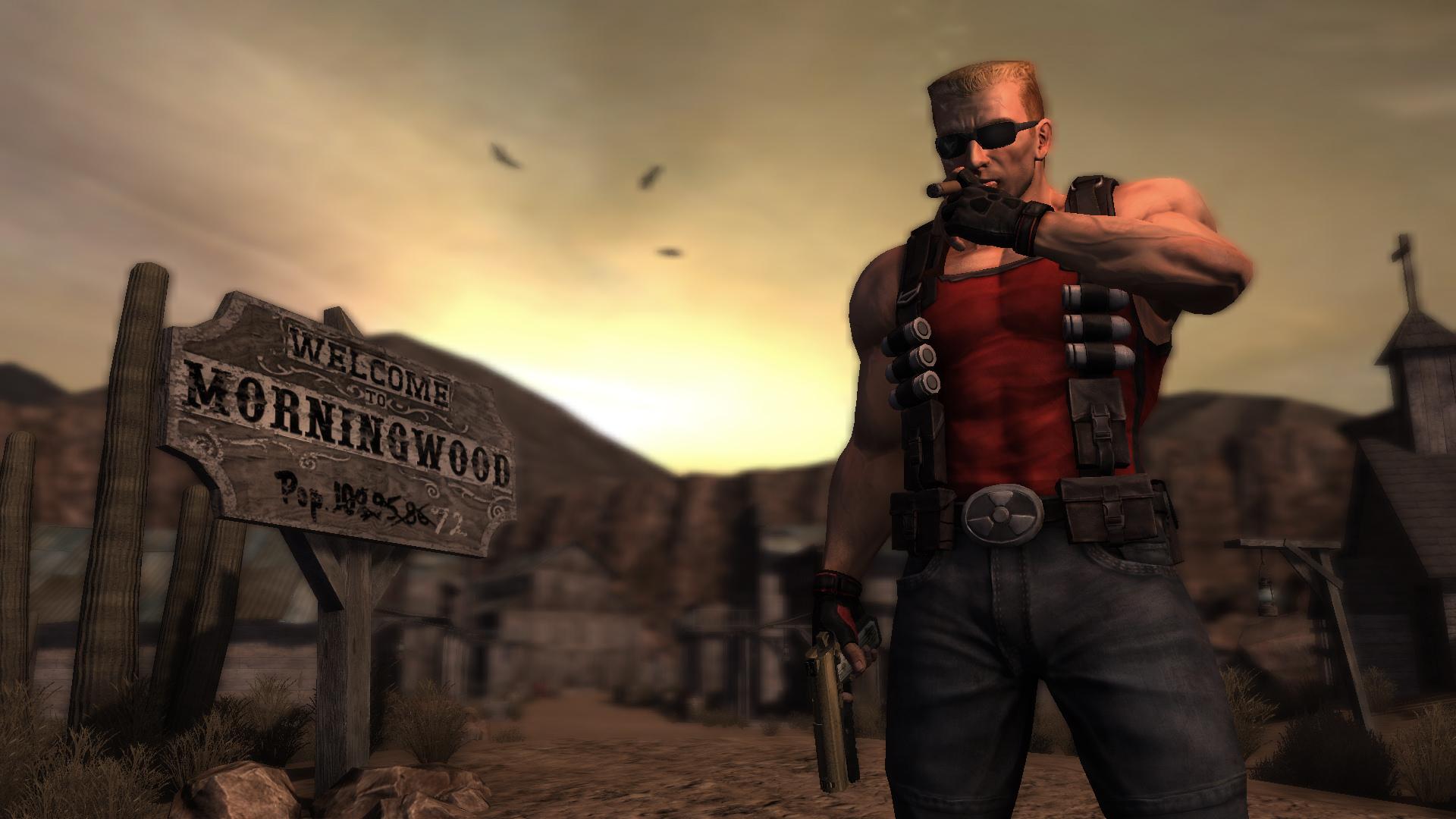Duke Nukem Forever - Duke smoking cigar in front of 'Welcome to Morningwood' sign